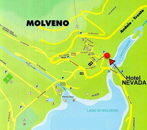 Potete vedere la posizione dell'hotel nell'abitato di molveno